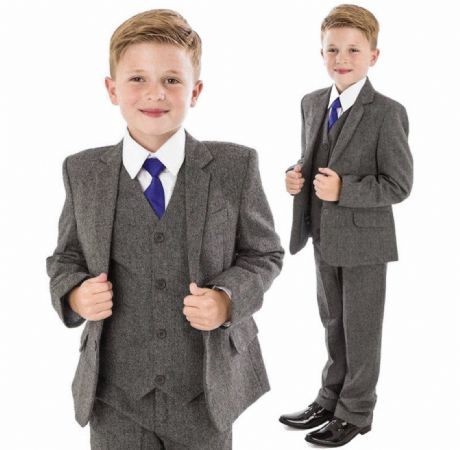 Boys Grey Tweed Herringbone 5 Piece Jacket Suit